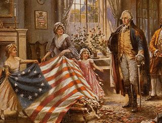 Betsy Ross Presents Her American Flag